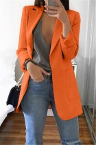 Orange Casual Long Sleeves Suit Jacket