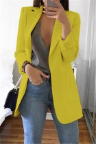 Yellow Casual Long Sleeves Suit Jacket