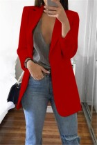 Red Casual Long Sleeves Suit Jacket