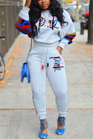 Grey adult Fashion Casual Camouflage Patchwork Embroidery Letter Two Pieces