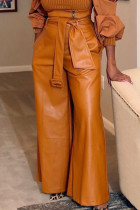 Brown Fashion Casual Adult Faux Leather Solid Pants With Belt Straight Bottoms
