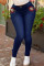 Deep Blue Daily Solid Buttons High Waist Skinny Jeans