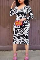 Black Sexy High Waist Slim Fit Print Hips Large Size Dress