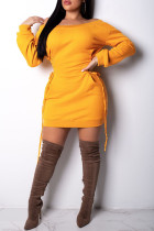 Yellow Casual Long Sleeves Lace-Up Mini Dress