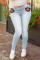 Baby Blue Daily Solid Buttons High Waist Skinny Jeans