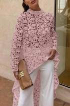 Pink Trendy Hollowed-out Lace Shirts