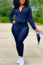 Navy Blue Sexy Sportswear Patchwork Zipper Collar Long Sleeve Two Pieces (With Mask)