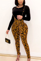 Leopard print Daily Leopard O Neck Long Sleeve Two Pieces