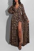Leopard print British Style Leopard V Neck Long Sleeve Floor Length A Line Dresses