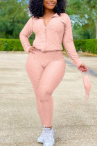 Pink Sexy Sportswear Patchwork Zipper Collar Long Sleeve Two Pieces (With Mask)