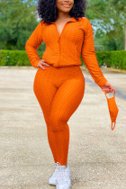 Orange Sexy Sportswear Patchwork Zipper Collar Long Sleeve Two Pieces (With Mask)