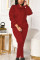 Wine Red Casual Solid Hooded Collar Long Sleeve Two Pieces
