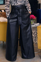 Black Fashion Casual Adult Faux Leather Solid Pants With Belt Straight Bottoms