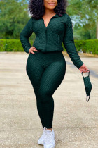 Dark green Sexy Sportswear Patchwork Zipper Collar Long Sleeve Two Pieces (With Mask)