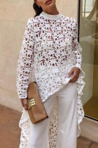 White Trendy Hollowed-out Lace Shirts