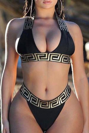 Black Euramerican Printed Two-piece Swimwear