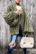 Army Green Casual Puff Sleeves Coat