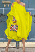Yellow Sweet Bat-wing Sleeves Asymmetrical Chiffon Mid Calf Dress