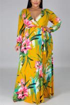 Yellow Fashion Sexy Plus Size Print Slit V Neck Printed Dress