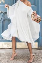 White Sweet Bat-wing Sleeves Asymmetrical Chiffon Mid Calf Dress