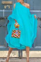 Baby Blue Sweet Bat-wing Sleeves Asymmetrical Chiffon Mid Calf Dress