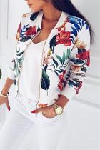 White Fashion Printed Short Zipper Jacket
