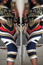 Navy blue Trendy Geometric Printed Knee Length Dress