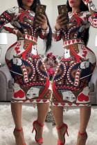 Brown Trendy Geometric Printed Knee Length Dress
