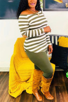 Army Green Fashion Casual Striped Print Basic O Neck Long Sleeve Two Pieces