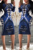 Deep Blue Trendy Geometric Printed Knee Length Dress