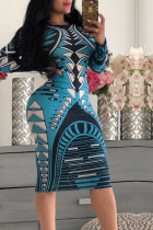 Sky Blue Trendy Geometric Printed Knee Length Dress