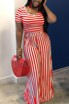 Red Polyester Fashion Sexy crop top Striped Two Piece Suits Slim fit Solid Straight Short Sleeve  Two-pi