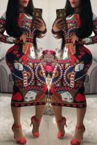 Red Trendy Geometric Printed Knee Length Dress