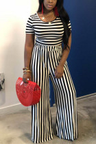 Black Polyester Fashion Sexy crop top Striped Two Piece Suits Slim fit Solid Straight Short Sleeve  Two-pi