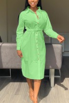 Green adult Casual Fashion Shirt sleeves Long Sleeves Notched Step Skirt Mid-Calf fastener Solid