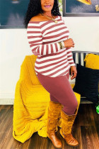Wine Red Fashion Casual Striped Print Basic O Neck Long Sleeve Two Pieces