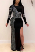 Black Fashion Sexy Solid Slit Hot Drill O Neck Swagger Dresses