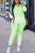 Green Sportswear Gradual Change Hooded Collar Long Sleeve Two Pieces