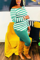 Green Fashion Casual Striped Print Basic O Neck Long Sleeve Two Pieces