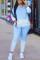 Baby Blue Sportswear Gradual Change Hooded Collar Long Sleeve Two Pieces