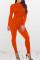 Orange Stylish Long Sleeve Round Neck Jumpsuit