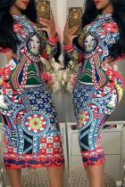 Multi-color Trendy Geometric Printed Knee Length Dress