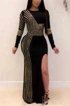 Gold Fashion Sexy Solid Slit Hot Drill O Neck Swagger Dresses