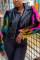 Black Fashion Stitching Turndown Collar Coats