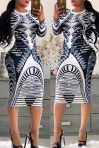 Blue Trendy Geometric Printed Knee Length Dress