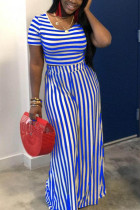 Blue Polyester Fashion Sexy crop top Striped Two Piece Suits Slim fit Solid Straight Short Sleeve  Two-pi