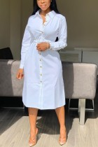 White adult Casual Fashion Shirt sleeves Long Sleeves Notched Step Skirt Mid-Calf fastener Solid