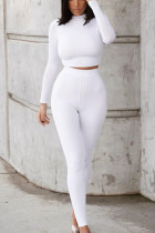 White Living Solid O Neck Long Sleeve Two Pieces