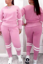 Pink Casual Sportswear Solid Split Joint O Neck Long Sleeve Two Pieces