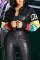 Black Fashionable Long Sleeve Leather Jacket